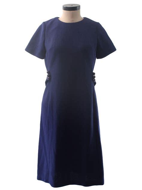 Knit Princess Dress Navy vintage 1970 s dress 70s womens navy blue polyester sleeve mid length knit