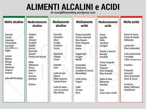 alimenti alcalinizzanti tabella alimenti acidi e alcalini quali i benefici e le