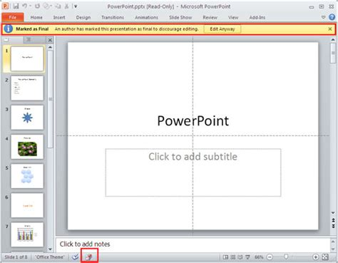 remove themes powerpoint 2010 remove mark as final option in powerpoint 2010 for windows