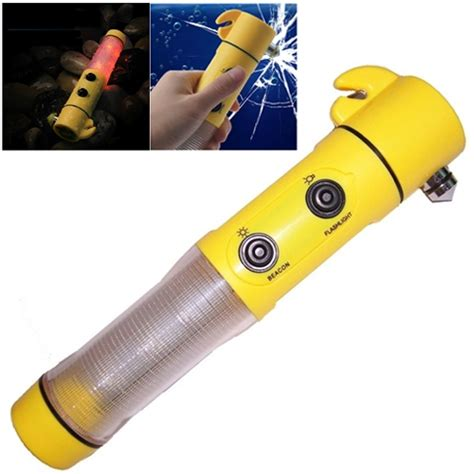 Safety Hammer Flashlight 4 in 1 multi function flashlight alarm emergency hammer led flash light for auto used yellow