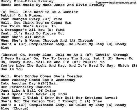 printable elvis lyrics country music moody blue elvis presley lyrics and chords