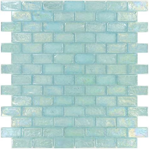 uniform brick aqua glass uniform brick tile glossy
