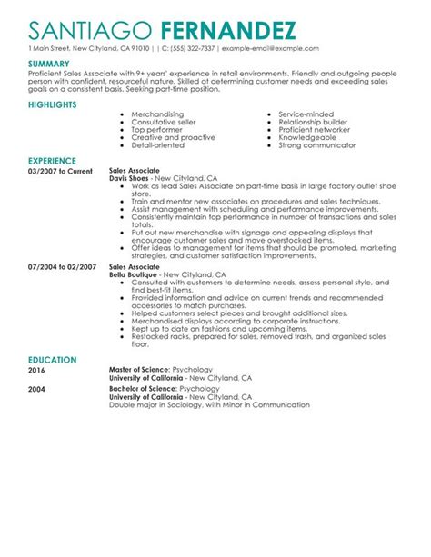 Resume Objective Exles Retail Sales Associate Part Time Sales Associates Resume Sle My Resume