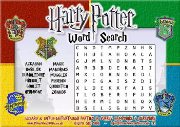 printable word search harry potter free printable harry potter wordsearch childrens