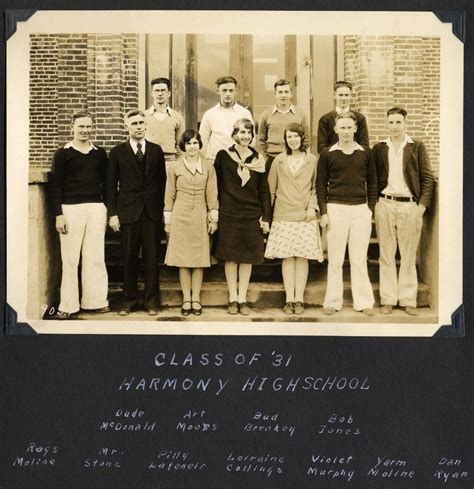 Whatcom County Records Harmony High School 1931 Graduating Class