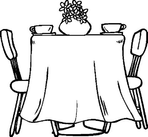 coloring page of a kitchen table mesa para colorear