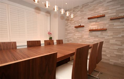 accent wall panel dining room contemporary with geometric surprising faux brick wall decorating ideas