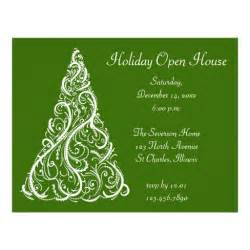 white christmas tree holiday open house invitation custom