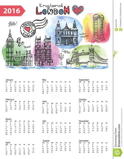doodle calendar 2016 calendar 2016 landmarks skyline watercolor stock