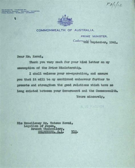 Official Letter Japanese Arthur Fadden August 1941 October 1941