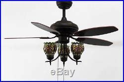 ceiling fan uplight kit makenier vintage stained glass flowers uplight