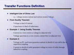 design transfer definition transfer functions in emc shielding design ppt download