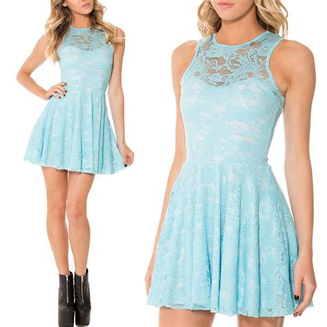 Dress Tile Lace New 2015 new arrival lace skater dress blue lace dress sleeveless pleated skater dress