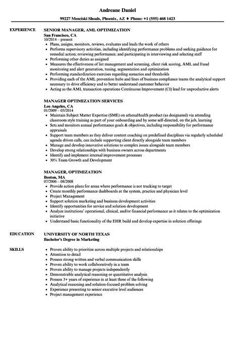 manager optimization resume sles velvet
