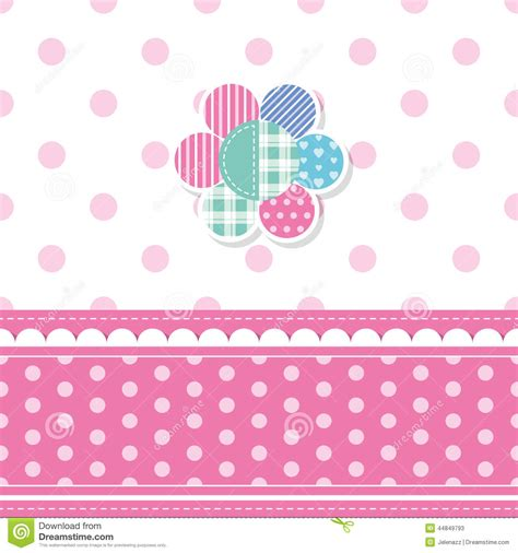 Od Kid Ribbon 2 Polka Pink baby greeting card stock vector image 44849793