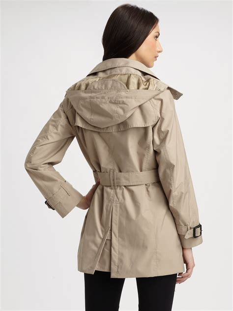 Hooded Buttoned Trench Coat burberry brit hooded trenchcoat in lyst