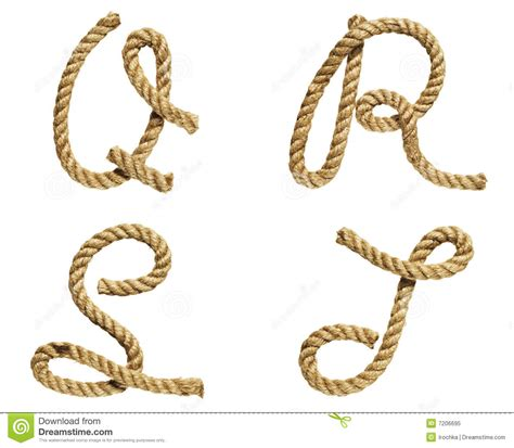 printable rope letters rope forming letter a b c d stock image image 7206695