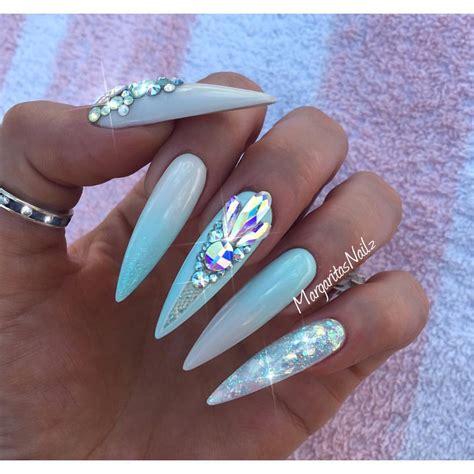 how to do ombre stiletto nail mint blue ombr 233 stiletto nails summer design swarovski