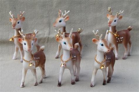 christmas decorations with deer head pic retro plastic reindeer decorations vintage hong kong baby deer w bells