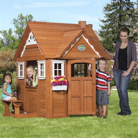 backyard discovery cedar cottage outdoor wooden cedar cottage play house for kids