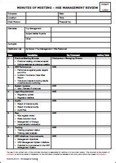 management review form template template minutes of meeting hse management review