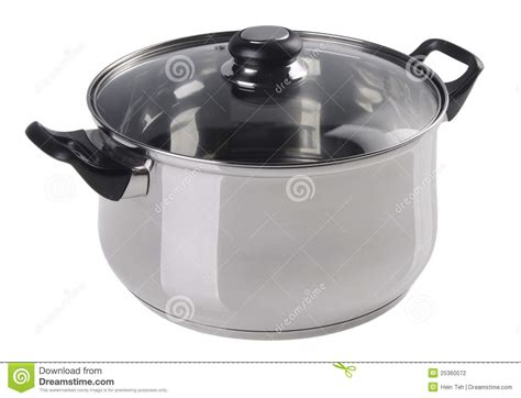 Stainless Steel Cooking Pot With Glass Top Cover Stock