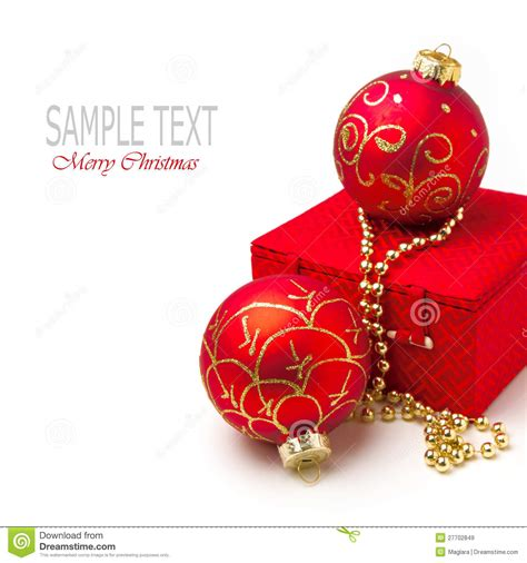 christmas gift box and festive ornaments royalty free