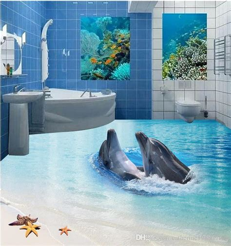Dolphin Bedroom High Quality Costom 3d Floor Stickers Marine World