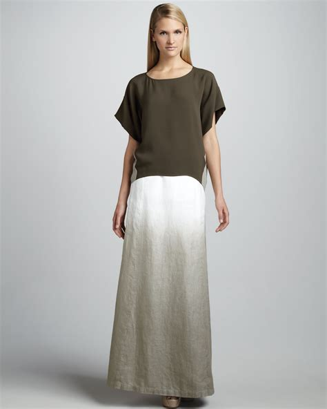 Lafayete Maxi lafayette 148 new york hailey ombre linen maxi skirt in white lyst
