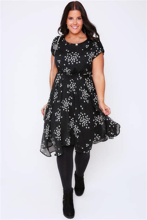 Hem Print Dress black white print dress hanky hem dress plus size