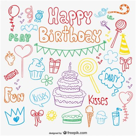 happy doodle doodle birthday card vector free