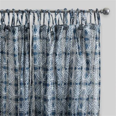 cotton voile curtain panels blue bandhani cotton voile curtains set of 2 world market