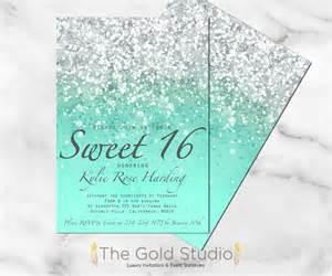 Sweet Sixteen Invitation Printable Sweet 16 Invites Blue Printable Sweet 16 Invitation Mint Green Glitter Sweet Sixteen