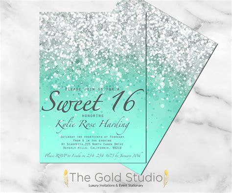 Sweet 16 Invitations by Printable Sweet 16 Invitation Mint Green Glitter Sweet Sixteen
