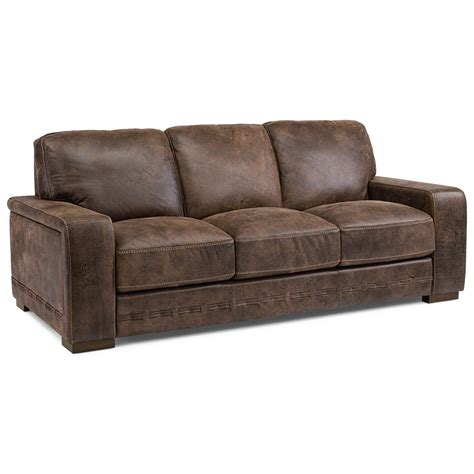 flexsteel buxton contemporary leather sofa