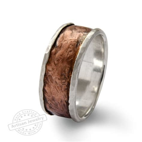 wide infinty band sterling silver copper ring rustic