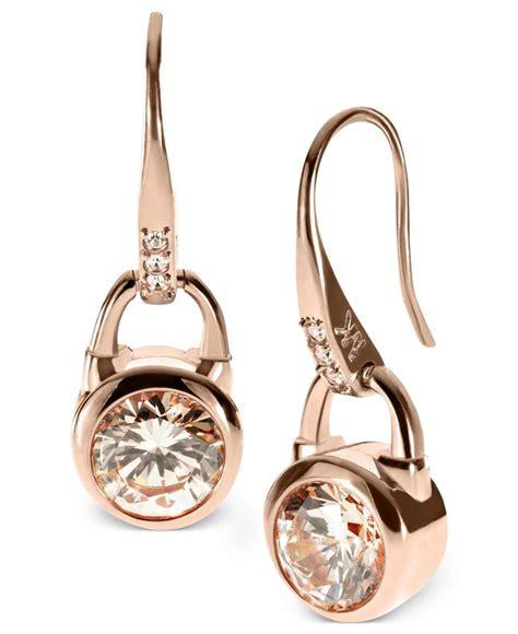michael kors earrings gold tone silk padlock drop
