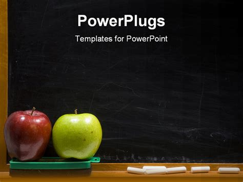 education powerpoint templates free rea and green apple on chalkboard ledge at school add
