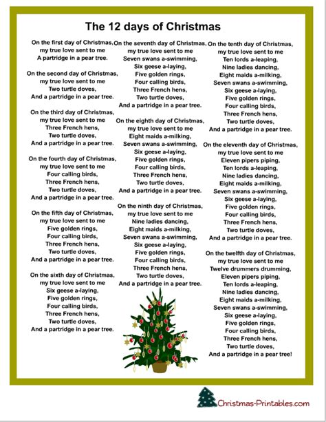Free printable the twelve days of christmas carol png