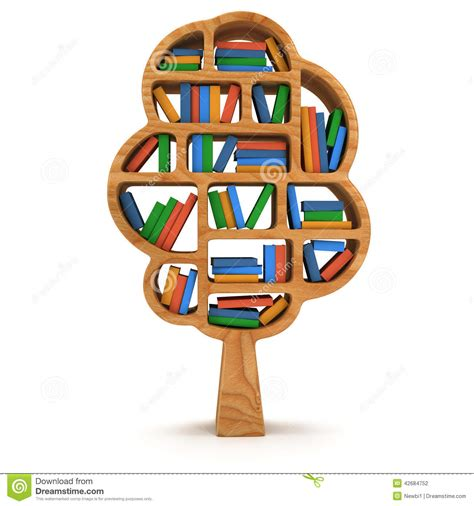 3d tree of knowledge bookshelf on white stock