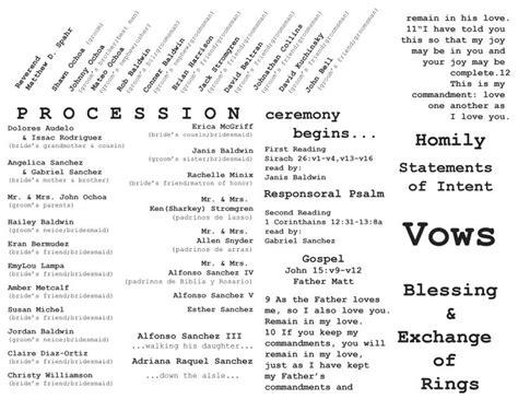 layout of catholic wedding mass catholic wedding ceremony program inside layout graphic