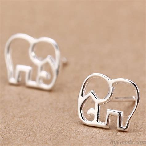 hollow elephant silver earring stud fashion
