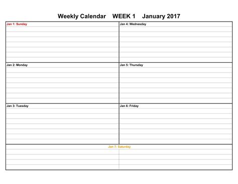 Template For Weekly Calendar 2017 weekly calendar templates