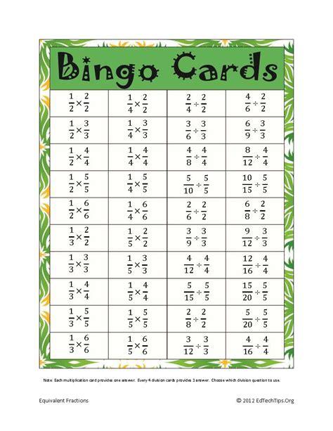 Fraction Bingo Printable