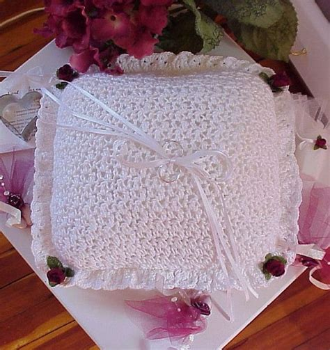 crochet pattern wedding ring bearer pillow by