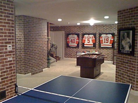 faux brick eclectic basement by enhance decor