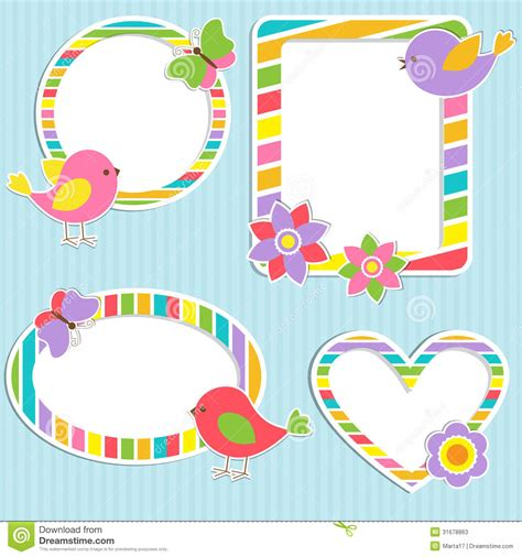 Decorative Owls cute frames stock vector image of element butterfly