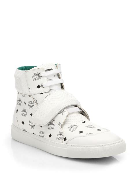 white mcm sneakers mcm python high top sneakers in white for lyst