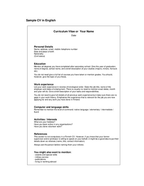 Cv Simple Exemple by Simple Cv Exle Free