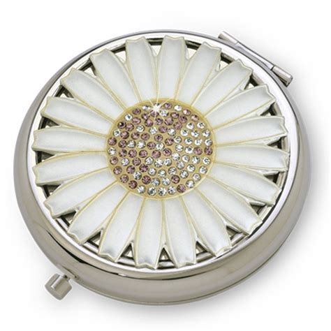 silver luxury compact mirror with austrian